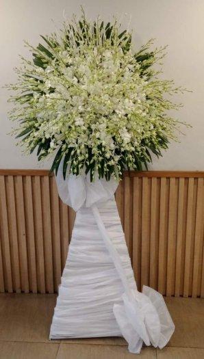 Lẵng hoa viếng tang lễ hoa lan trắng - LDNK400