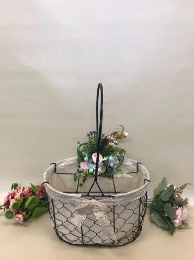 Set 2 giỏ lưới sắt màu đen cắm hoa vải tote viền ren - PLNK033