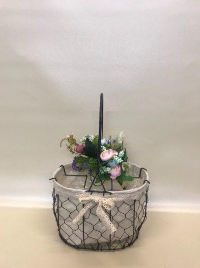 Set 2 giỏ lưới sắt màu đen cắm hoa vải tote viền ren - PLNK031