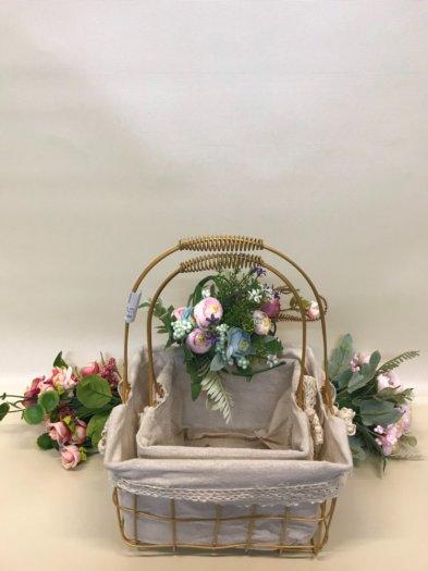 Set 2 giỏ sắt lưới mạ vàng cắm hoa vải tote viền ren có quai xách - PLNK071