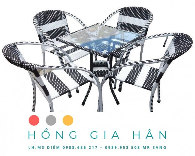 Bàn Ghế Cafe, Trà Sữa Mây Nhựa HGH0