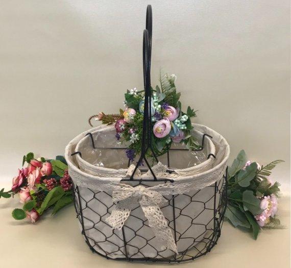 Set 2 giỏ lưới sắt màu đen cắm hoa vải tote viền ren - PLNK030