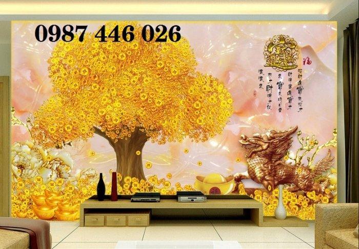 Gạch tranh 3d cây tiền vàng, tranh gạch men HP04848