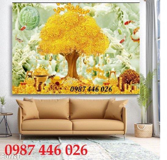 Gạch tranh 3d cây tiền vàng, tranh gạch men HP04847