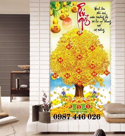Gạch tranh 3d cây tiền vàng, tranh gạch men HP04846