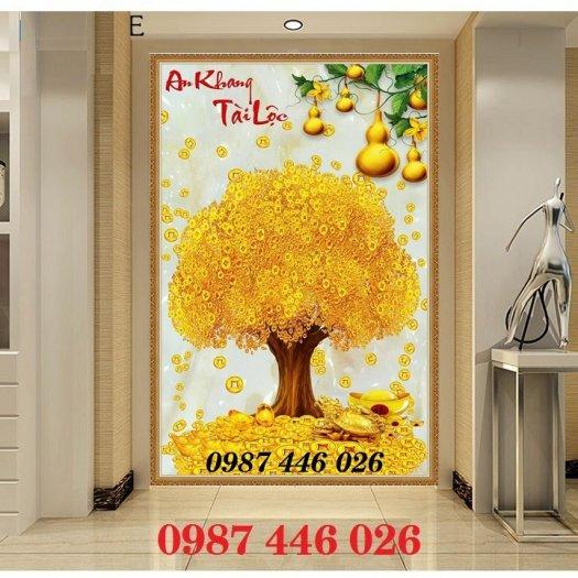 Gạch tranh 3d cây tiền vàng, tranh gạch men HP04844