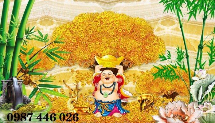 Gạch tranh 3d cây tiền vàng, tranh gạch men HP04843