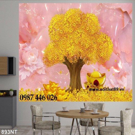 Gạch tranh 3d cây tiền vàng, tranh gạch men HP04842