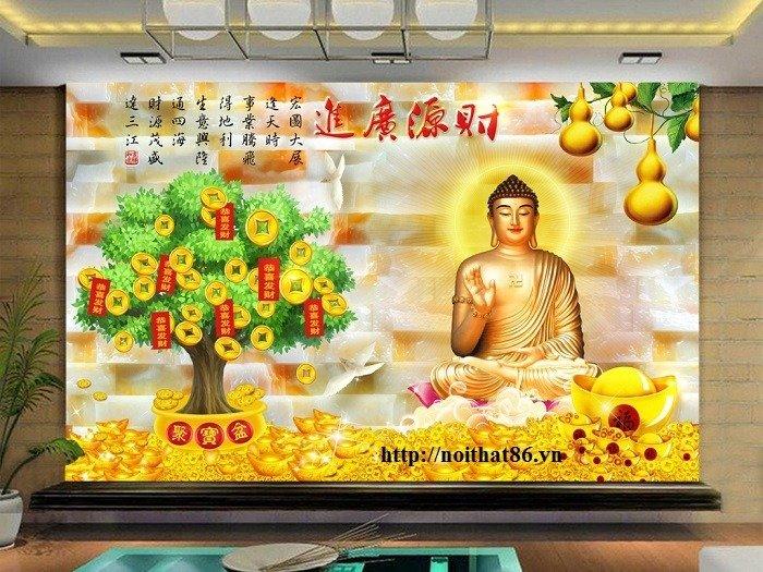 Gạch tranh 3d cây tiền vàng, tranh gạch men HP04841