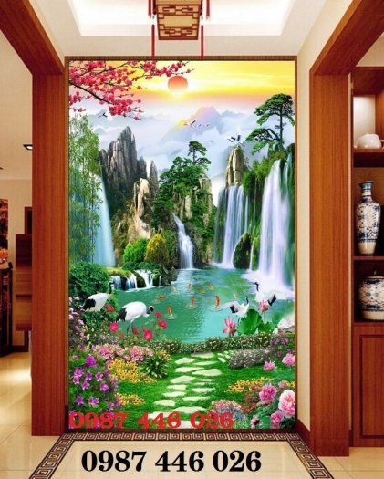 Gạch tranh phong cảnh  thác nước HP47960