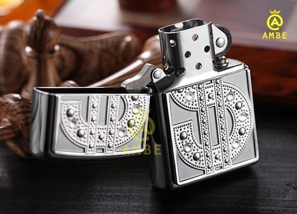 Bật lửa Emblem Đô La Mỹ đính đá Zippo 209042