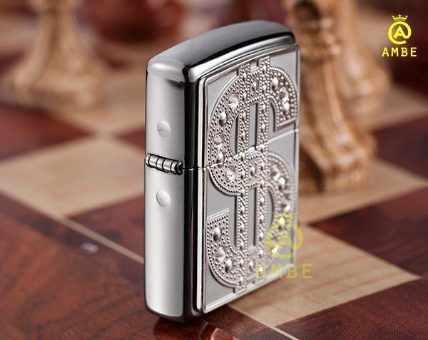 Bật lửa Emblem Đô La Mỹ đính đá Zippo 209041