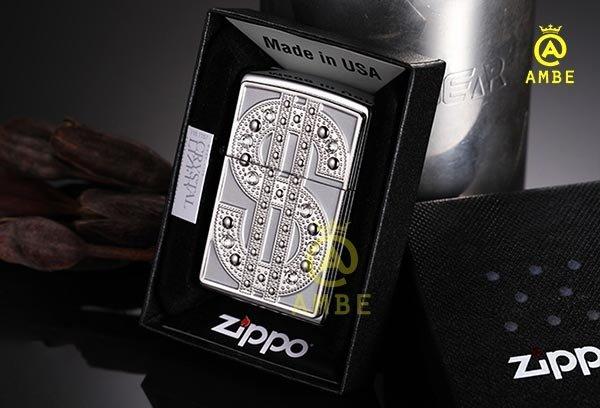 Bật lửa Emblem Đô La Mỹ đính đá Zippo 209040