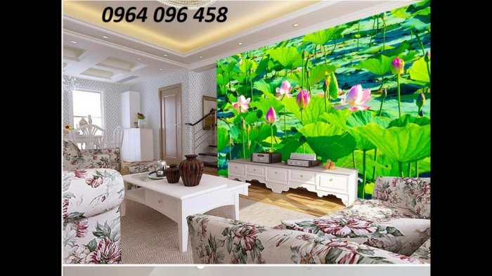 Tranh hoa sen 3d - tranh gạch 3d hoa sen - SCB59