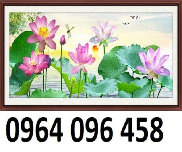 Tranh hoa sen 3d - tranh gạch 3d hoa sen - SCB52