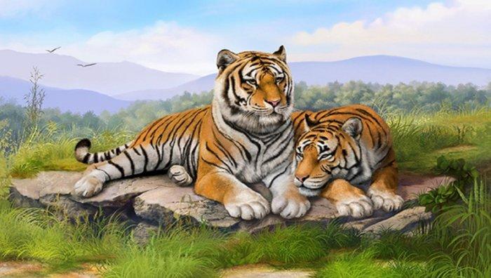 Tranh con hổ - tranh gạch 3d con hổ - XVN71