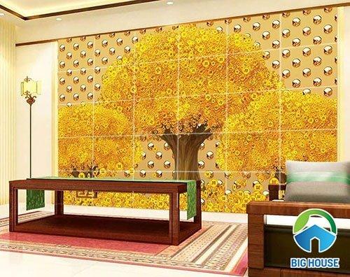 Tranh cây tiền vàng - tranh gạch 3d cây tiền vàng - XN767