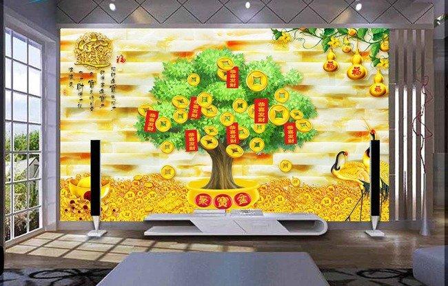 Tranh cây tiền vàng - tranh gạch 3d cây tiền vàng - XN766