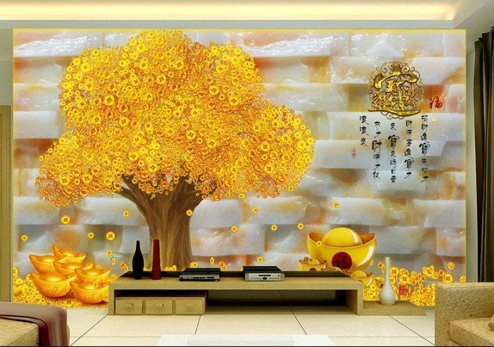 Tranh cây tiền vàng - tranh gạch 3d cây tiền vàng - XN765