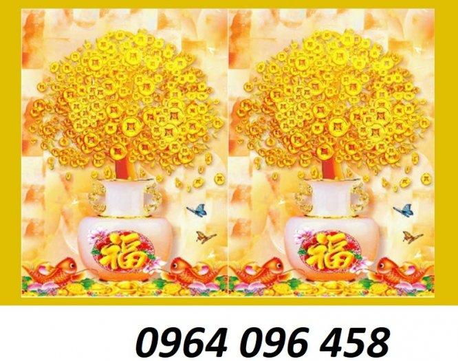 Tranh cây tiền vàng - tranh gạch 3d cây tiền vàng - XN764