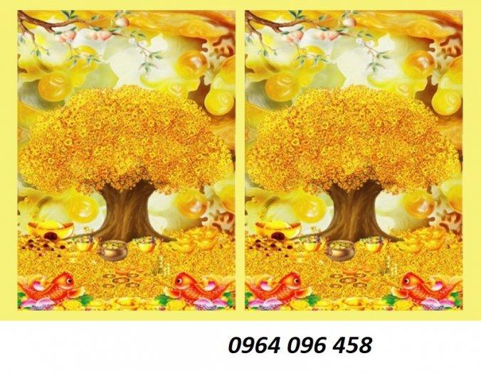 Tranh cây tiền vàng - tranh gạch 3d cây tiền vàng - XN763