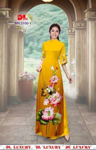 Vải áo dài nhung nhật đính đá MV 3100 của vải áo dài Kim Ngọc15