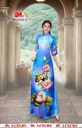 Vải áo dài nhung nhật đính đá MV 3100 của vải áo dài Kim Ngọc8
