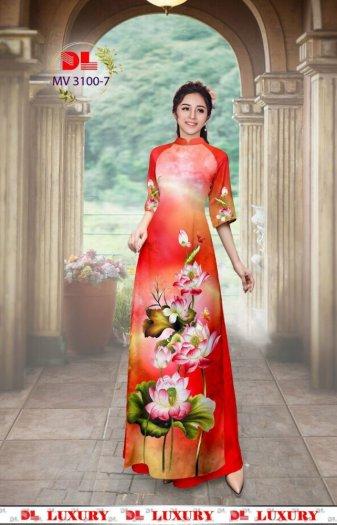 Vải áo dài nhung nhật đính đá MV 3100 của vải áo dài Kim Ngọc6
