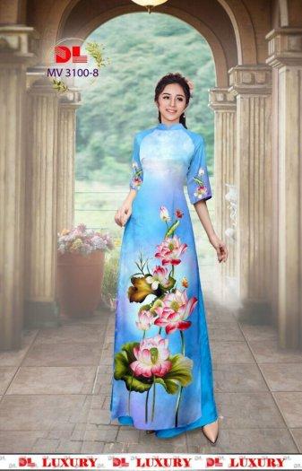 Vải áo dài nhung nhật đính đá MV 3100 của vải áo dài Kim Ngọc2
