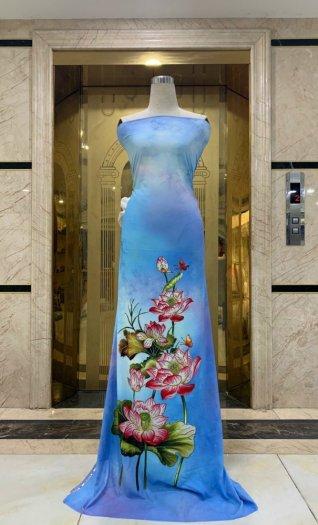 Vải áo dài nhung nhật đính đá MV 3100 của vải áo dài Kim Ngọc1