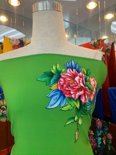 Vải áo dài nhung nhật đính đá TU 131 của vải áo dài Kim Ngọc38