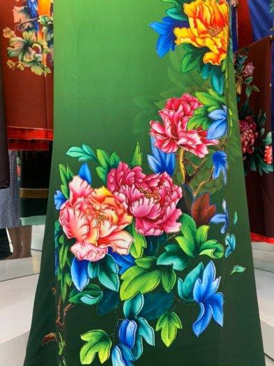 Vải áo dài nhung nhật đính đá TU 131 của vải áo dài Kim Ngọc37