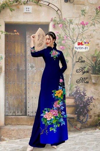 Vải áo dài nhung nhật đính đá TU 131 của vải áo dài Kim Ngọc26