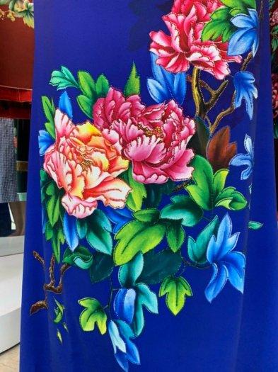 Vải áo dài nhung nhật đính đá TU 131 của vải áo dài Kim Ngọc23