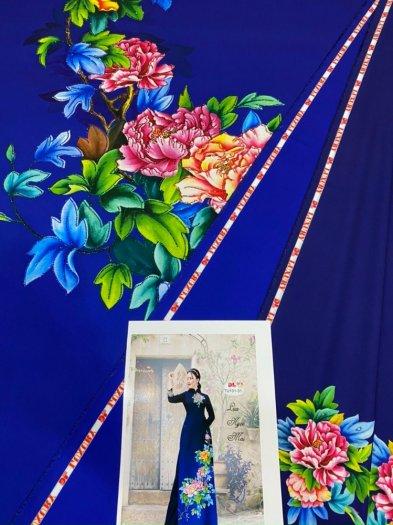 Vải áo dài nhung nhật đính đá TU 131 của vải áo dài Kim Ngọc22