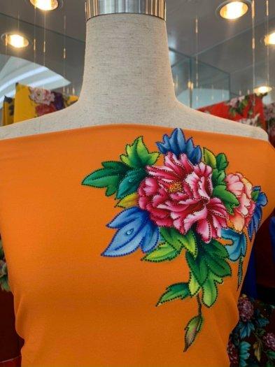 Vải áo dài nhung nhật đính đá TU 131 của vải áo dài Kim Ngọc18