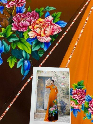 Vải áo dài nhung nhật đính đá TU 131 của vải áo dài Kim Ngọc15