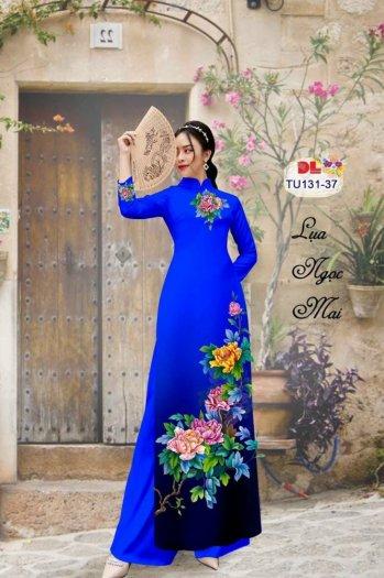 Vải áo dài nhung nhật đính đá TU 131 của vải áo dài Kim Ngọc12