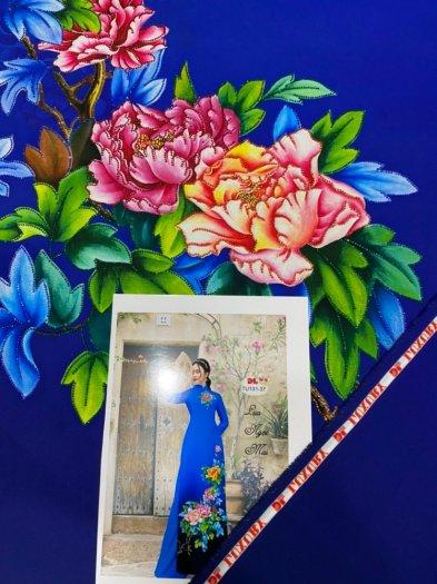 Vải áo dài nhung nhật đính đá TU 131 của vải áo dài Kim Ngọc8
