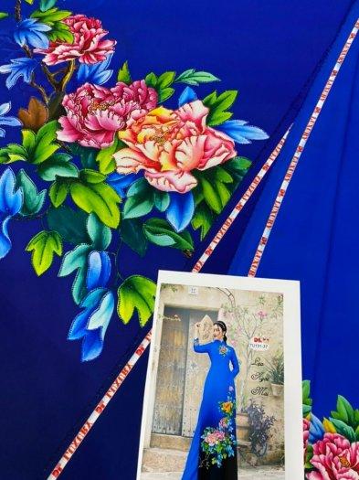 Vải áo dài nhung nhật đính đá TU 131 của vải áo dài Kim Ngọc7