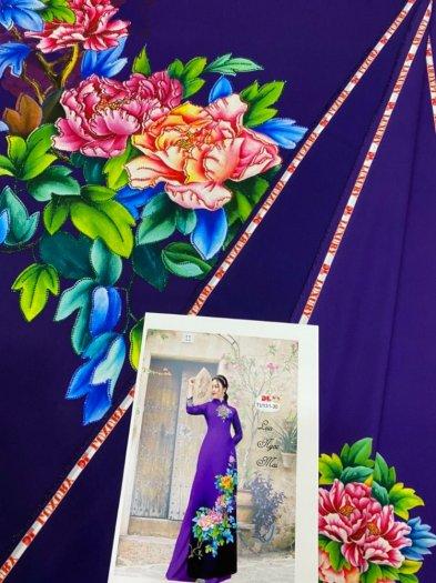 Vải áo dài nhung nhật đính đá TU 131 của vải áo dài Kim Ngọc2