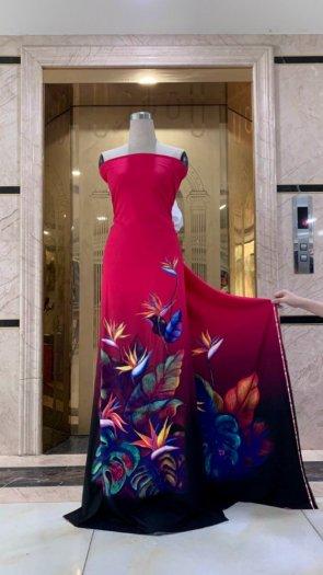 Vài áo dài lụa nhung nhật đính đá cao cấp BT 1104 của vải áo dài Kim Ngọc2