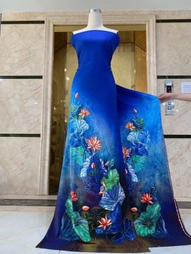 Vải áo dài nhung nhật đính đá BT 1101 của vải áo dài Kim Ngọc14