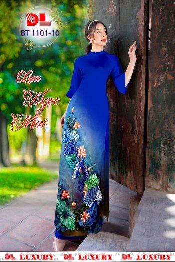 Vải áo dài nhung nhật đính đá BT 1101 của vải áo dài Kim Ngọc13