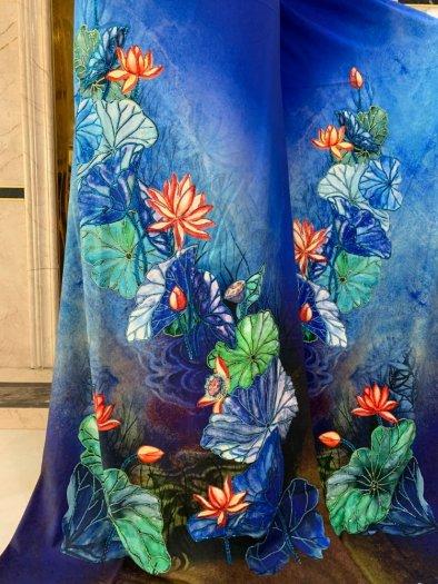 Vải áo dài nhung nhật đính đá BT 1101 của vải áo dài Kim Ngọc12