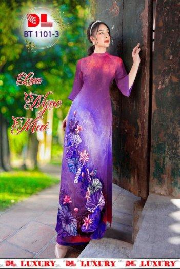 Vải áo dài nhung nhật đính đá BT 1101 của vải áo dài Kim Ngọc11
