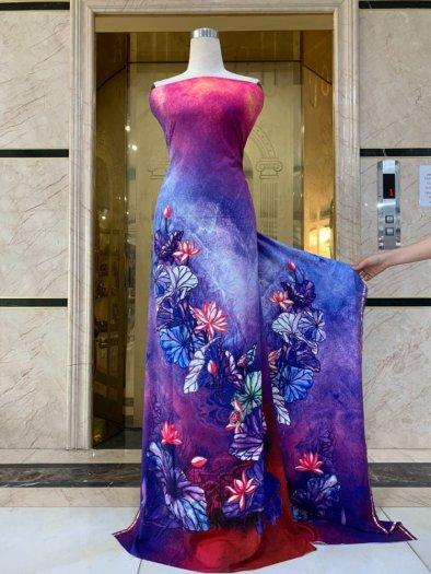 Vải áo dài nhung nhật đính đá BT 1101 của vải áo dài Kim Ngọc10