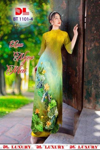 Vải áo dài nhung nhật đính đá BT 1101 của vải áo dài Kim Ngọc7