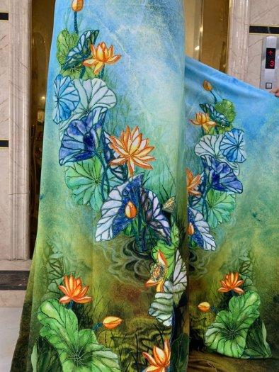 Vải áo dài nhung nhật đính đá BT 1101 của vải áo dài Kim Ngọc6