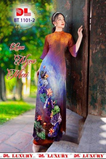 Vải áo dài nhung nhật đính đá BT 1101 của vải áo dài Kim Ngọc5